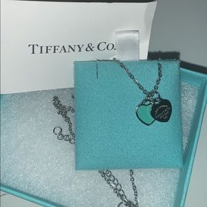 tiffany and co mini double heart tag necklace